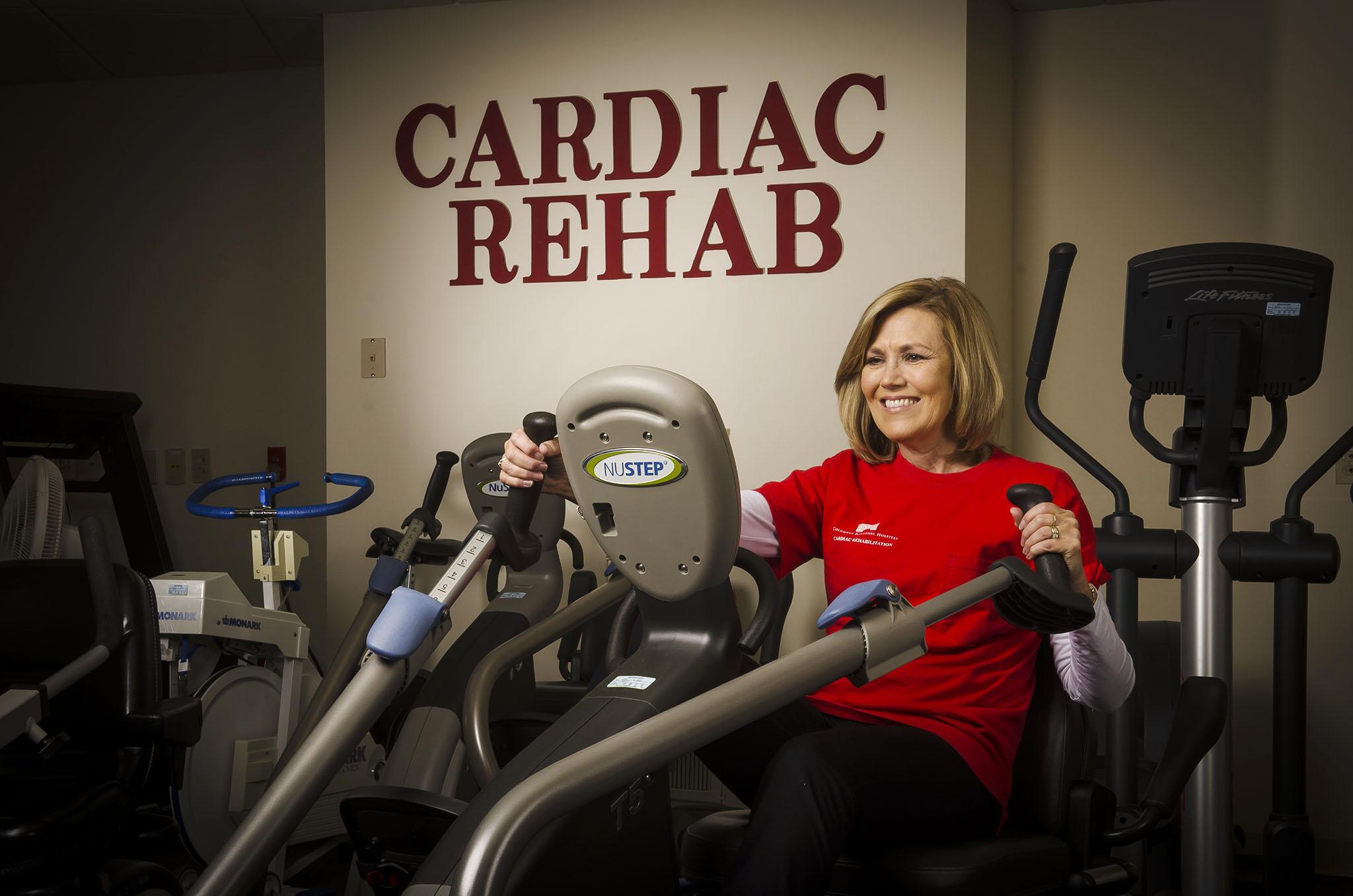 Linda Scheidt exercises in Cardiac Rehab at Columbus Regional Hospital