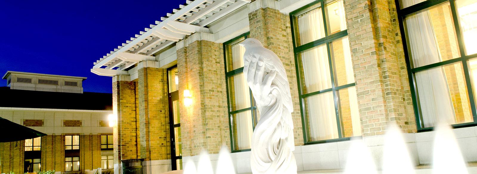 CRH sculpture at night