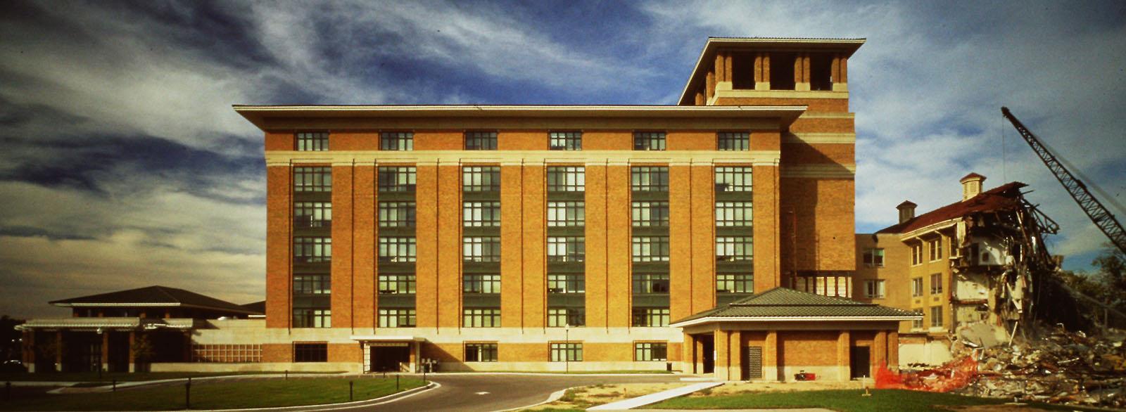Columbus Regional Hospital remodel showing demolition of original 1917 building