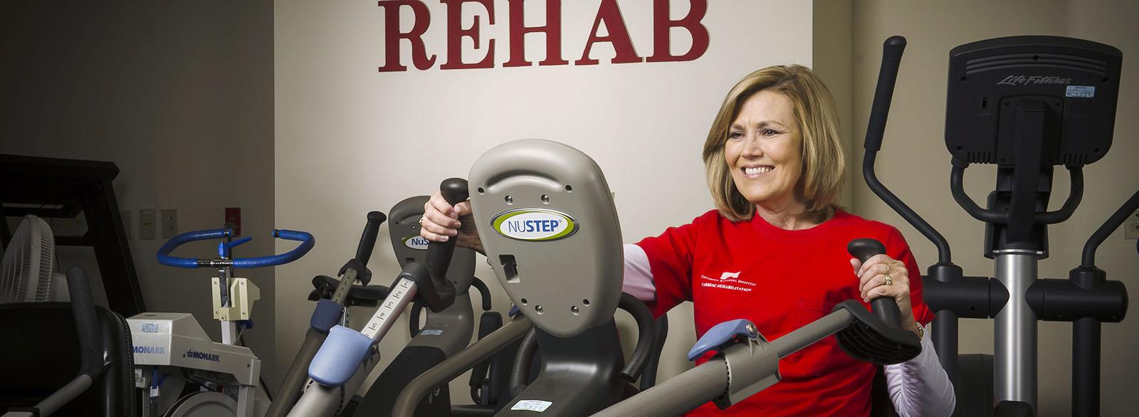 Cardiac rehab patient exercising