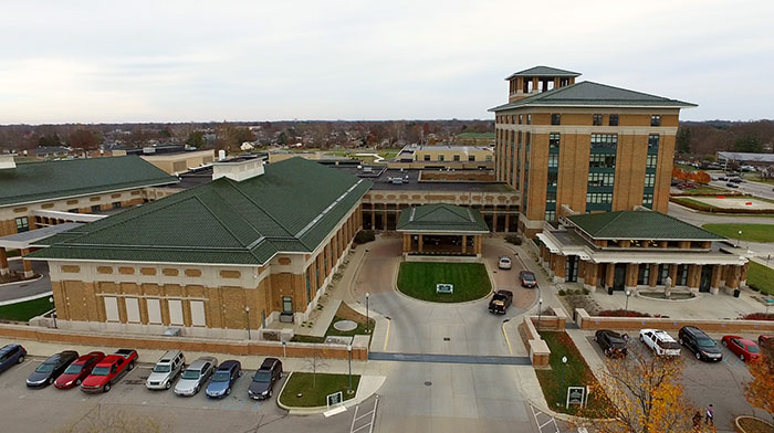 Aerial view of Columbus Regional Hospital in December 2016