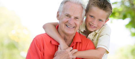Elderly man with small boy
