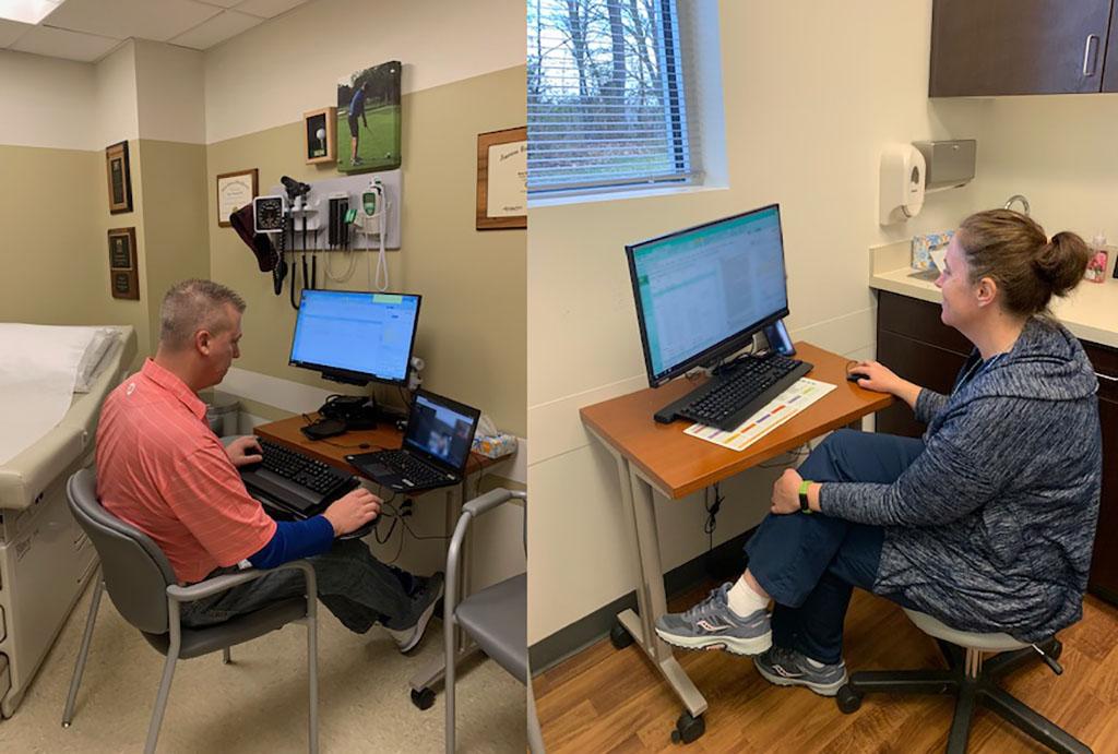 Drs. Brian Niedbalksi and Tricia Warner make telehealth visits recently.
