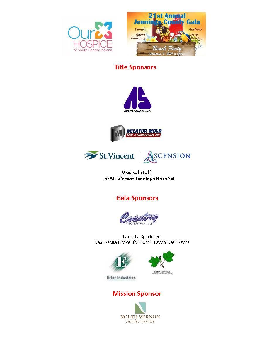 Jennings Gala Sponsors