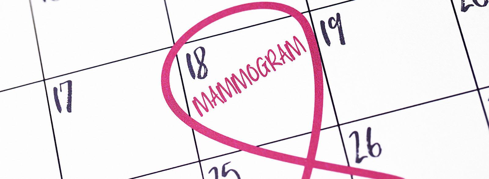Calendar date with the word mammogram circled.