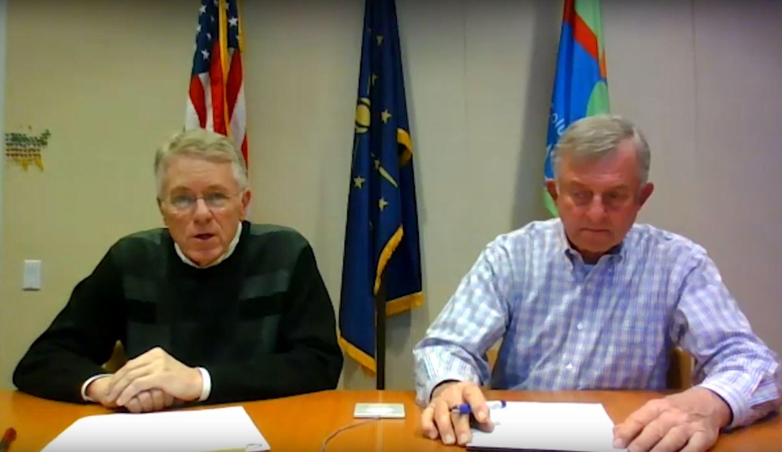 Mayor Jim Lienhoop and commissioner Carl Lienhoop.