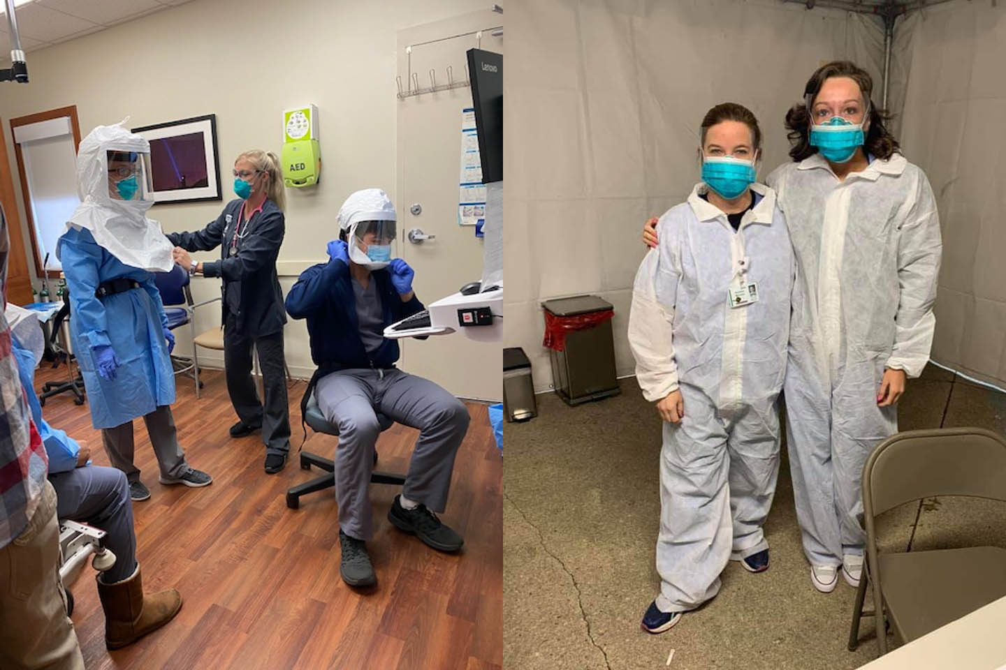 Providers wearing PPE for COVID-19 testing.