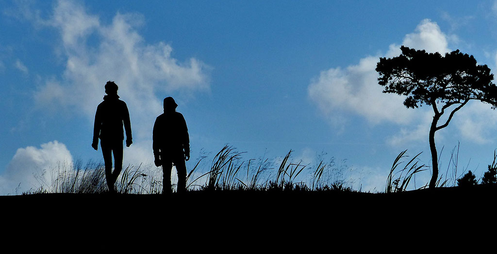 Silhouetted couple walking through countryside