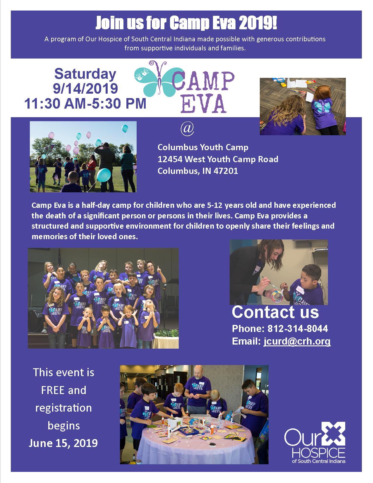 Flyer for 2019 Camp Eva