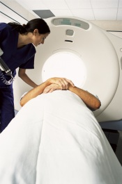 Photo of person in CT scanner