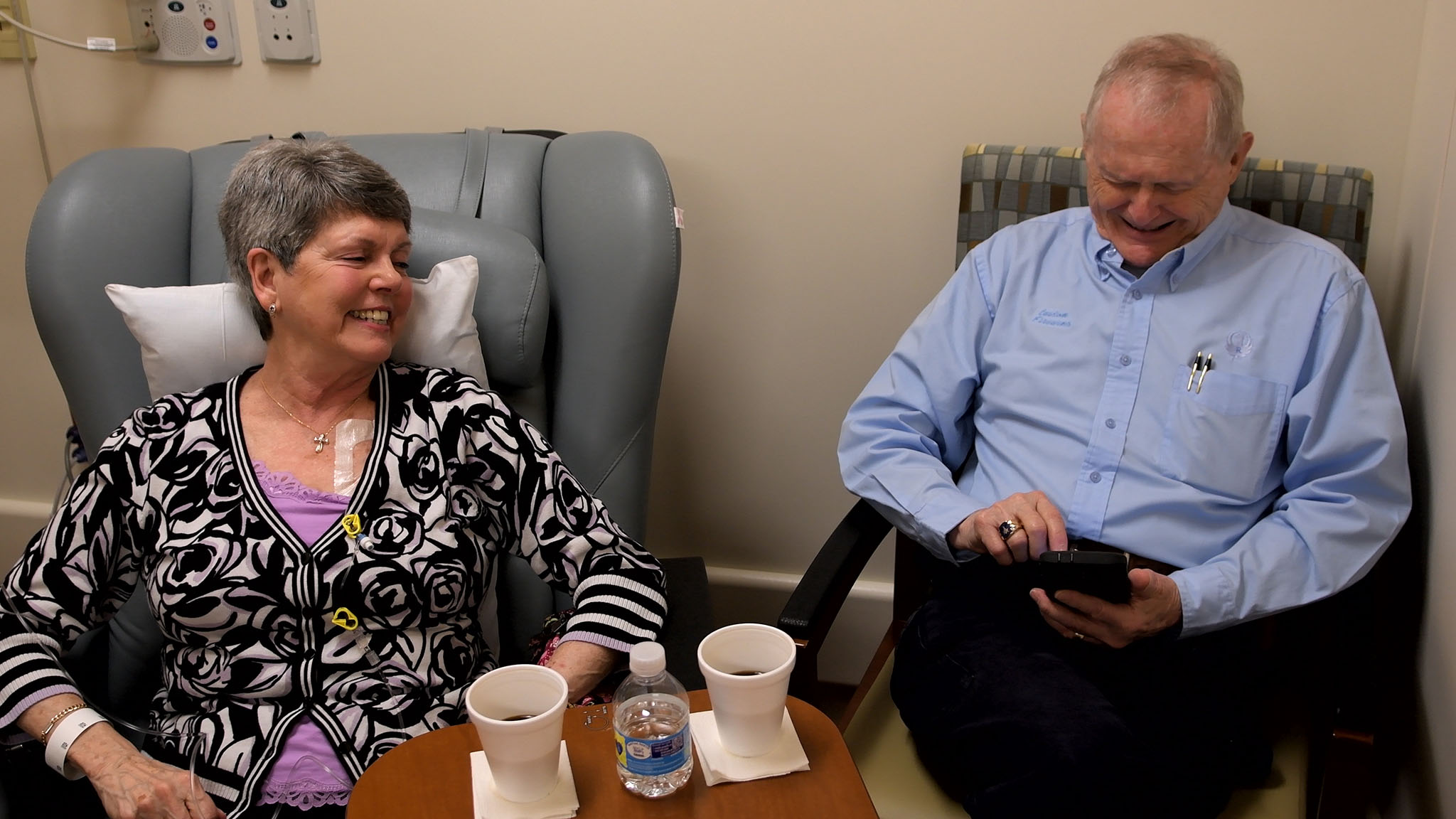 Sue Wallace, with husband Roger, during chemotherapy treatment