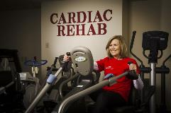 Linda Scheidt exercises in Cardiac Rehab at Columbus Regional Hospital