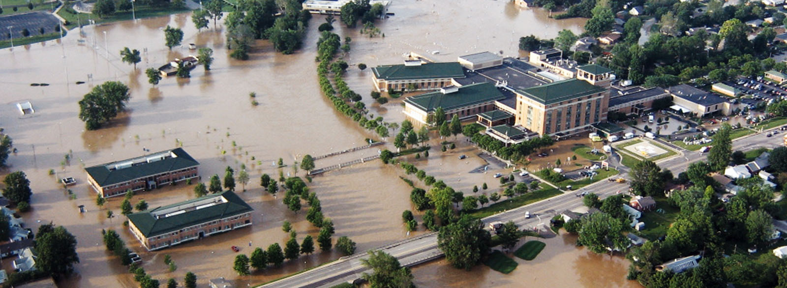 Aerial photo showing 2008 flood damage to hospital