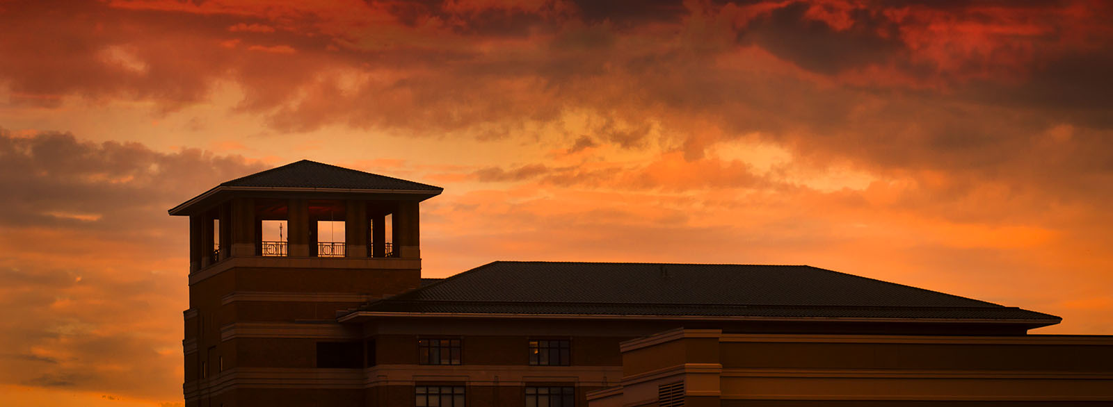 Columbus Regional Hospital campanille and tower at dawn