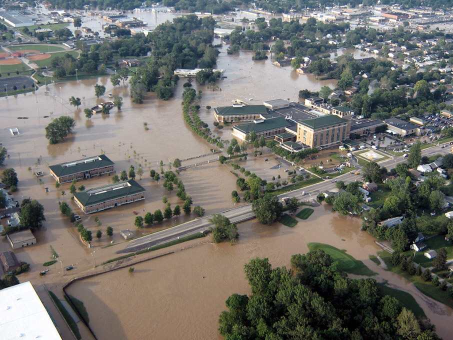 Aerial view of CRH during the flood of 2008