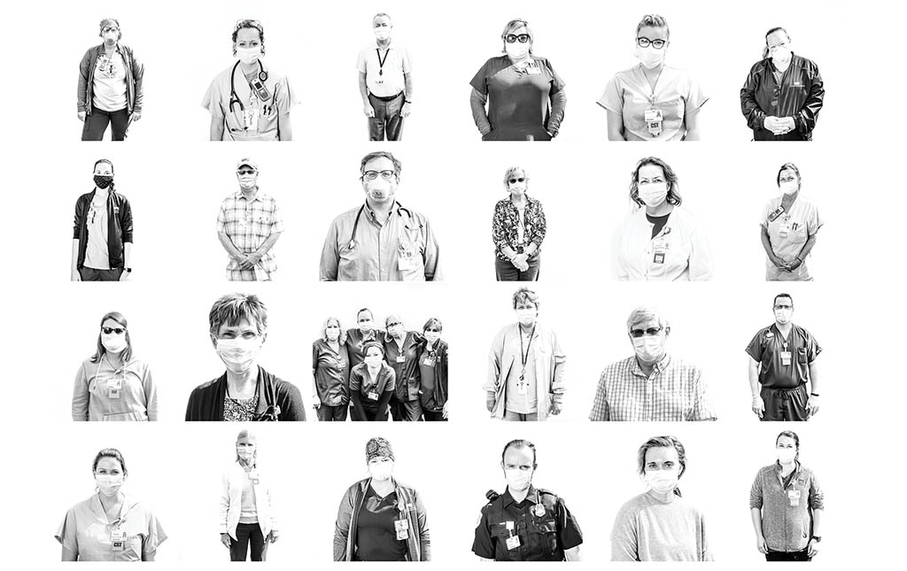 Collage of Columbus Regional Hospital workers wearing masks